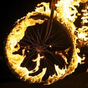 Bike wheel aflame